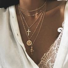 factory direct sales new cross rose gold alloy multi -layer fashion necklace for women