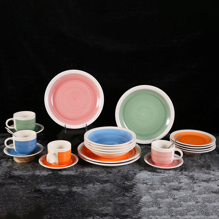 Hand Made Painted Color Glazed Prato Plato Dishes Dinner Plate Set Tableware Dinnerware Ceramics Plates
