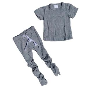 High quality private label Baby cotton suit Stacked Pants t shirt set clothing girl kids clothes