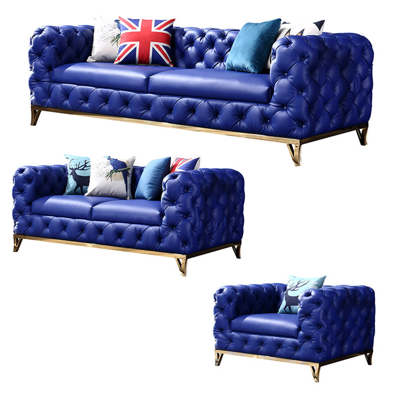 New Design navy blue leather Sofa Cama L Shape Sofa Set Modern Couch Living Room Sofa