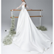 2020 High quality white simple satin long sleeve bridal gowns wedding dresses