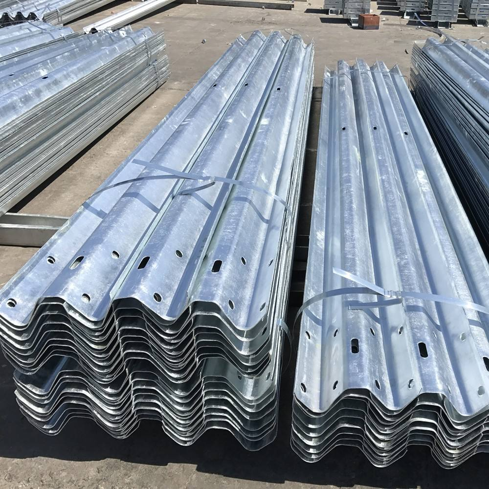 High quality hot sale traffic high security highway barrier road galvanize two waves guardrails safety barrier
