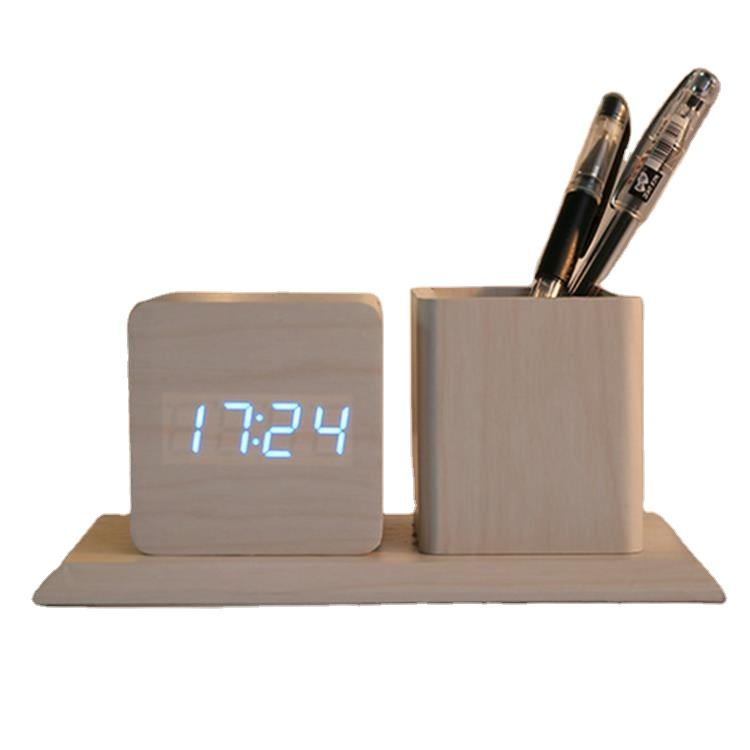 USB/AA Powered Cube LED Digital Alarm Clock Square Modern Wood Clock Thermometer Temp Date Display Calendars Desk Table Clock