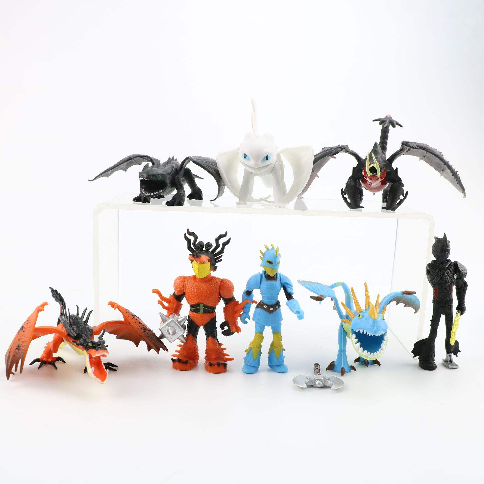 8 stks/set hoe to train your dragon 3 PVC action Figure, Tandeloze Night Fury Beeldje <span class=keywords><strong>speelgoed</strong></span>, anime Licht Fury pop voor kinderen