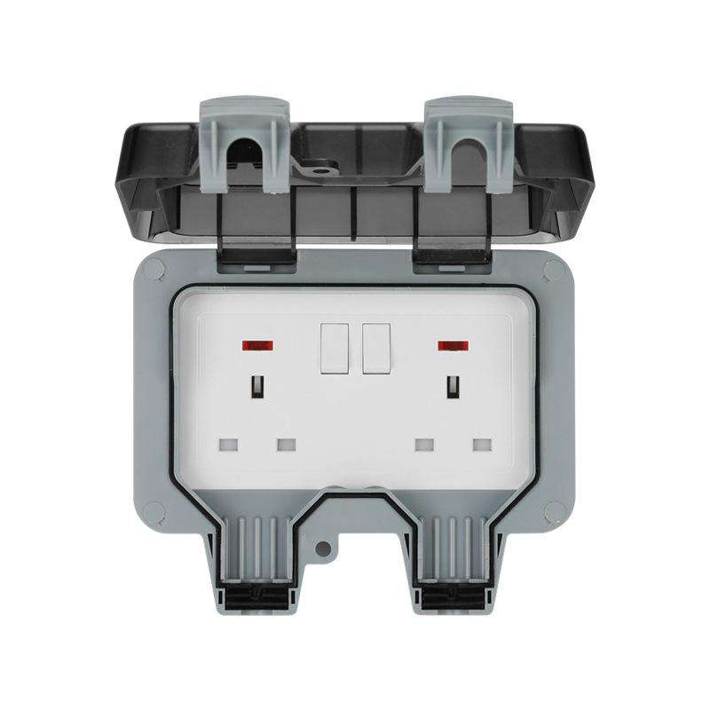 Two outdoor use industrial wall socket switch waterproof grade IP66 three-hole five-hole waterproof socket box