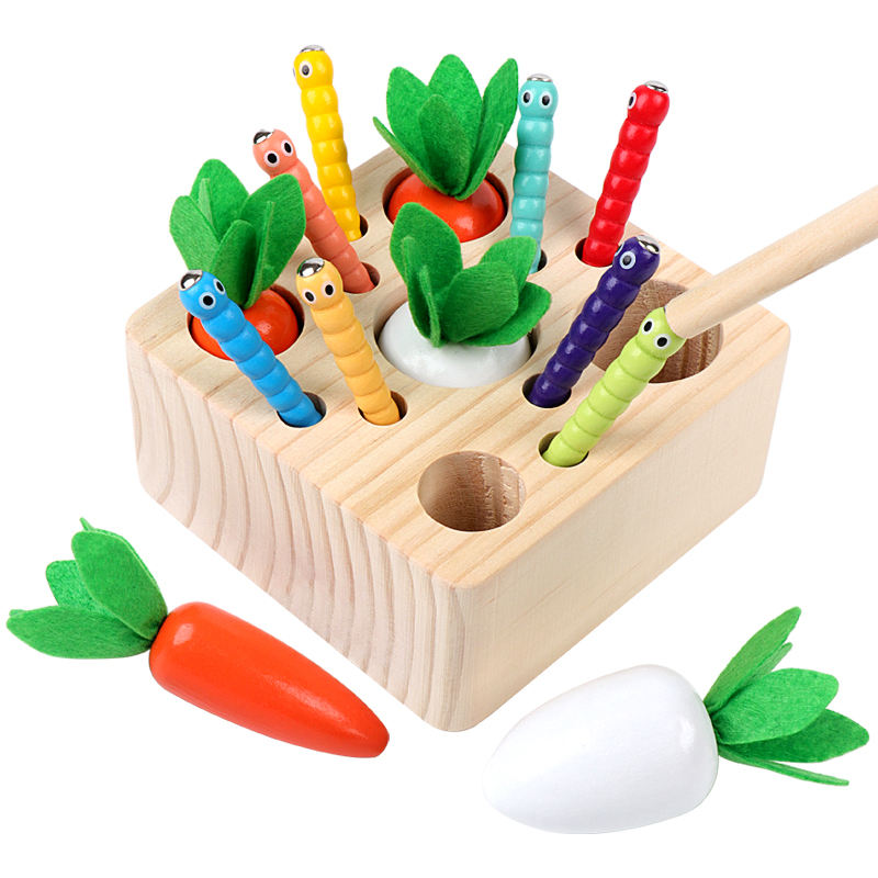 interest Plucking radish Game of catching insects Cultivate a sense of responsibility Wooden toys Wholesale color Box Packing