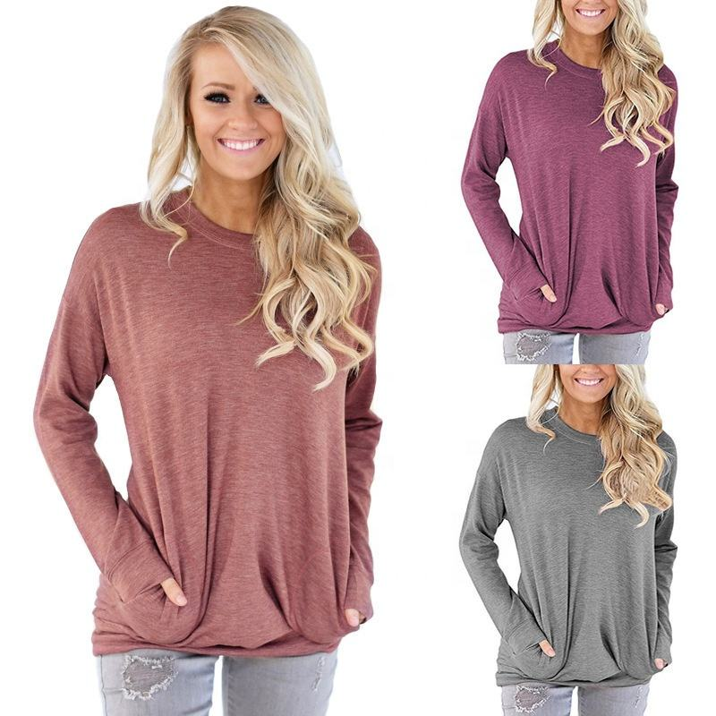Women Casual Baggy Top Loose Fit Solid Color Long Sleeve Tunic Round Neck Blouse With Pockets