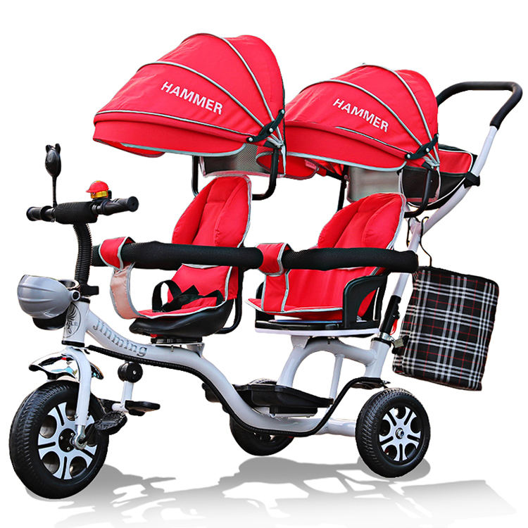 Factory Wholesale kids child tricycle, new model kids double seat tricycle pedal car, baby twin tricycle stroller