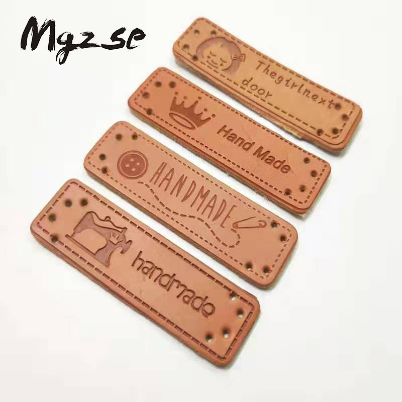 Custom leather labels/centre fold leather labels/personalized leather tags
