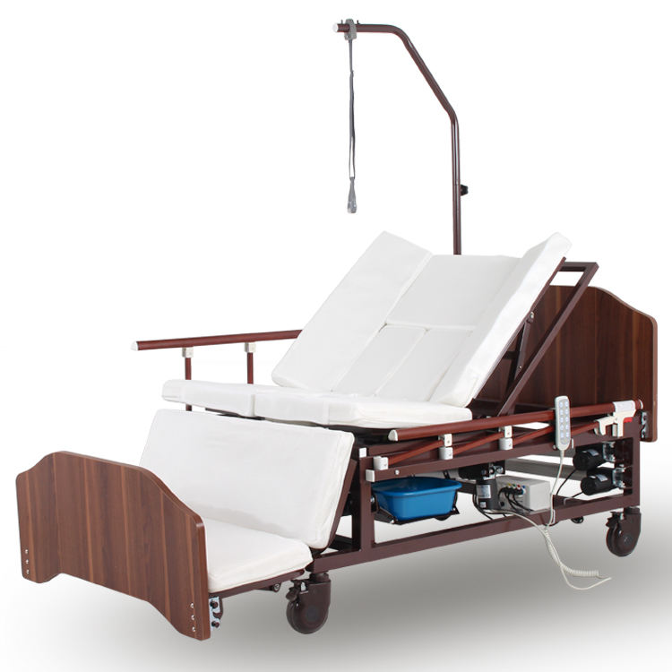 3-function medical clinic home care foldable metal hospital bed with toilet