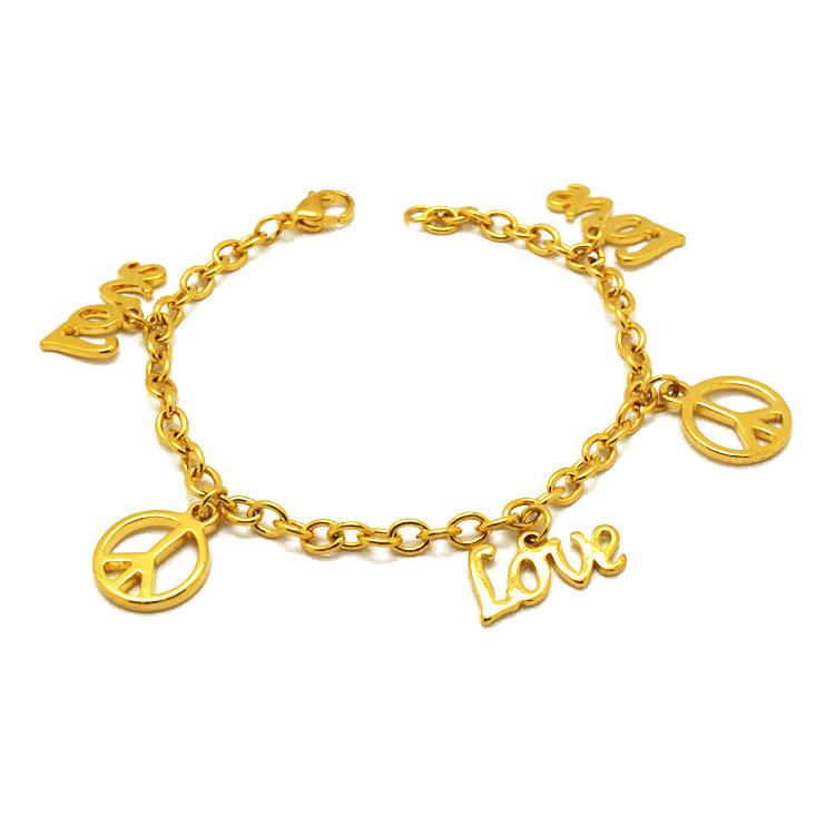 Olivia in stock personalized bracelet stainless steel gold peace and love jewelry friendship jewelry charm bracelet women