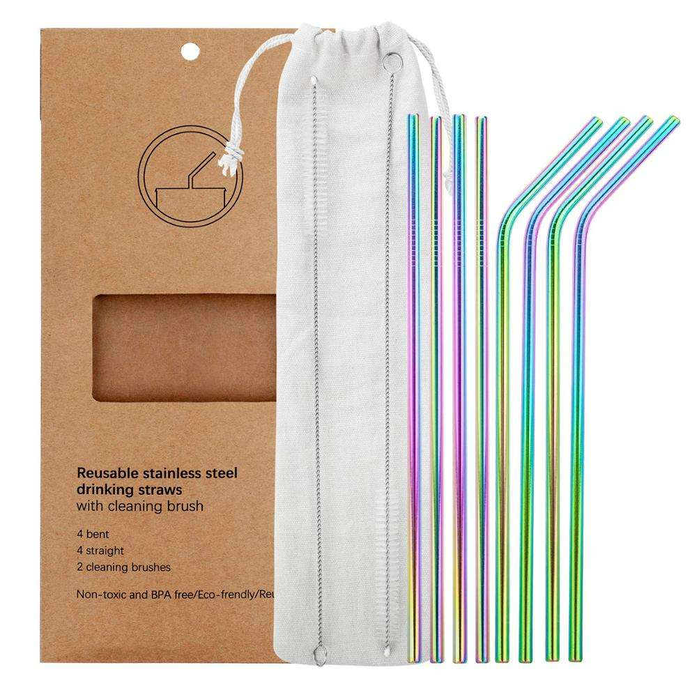 Eco Reusable FAD Customized Colorful Stainless Steel Drinking Metal Straw Set