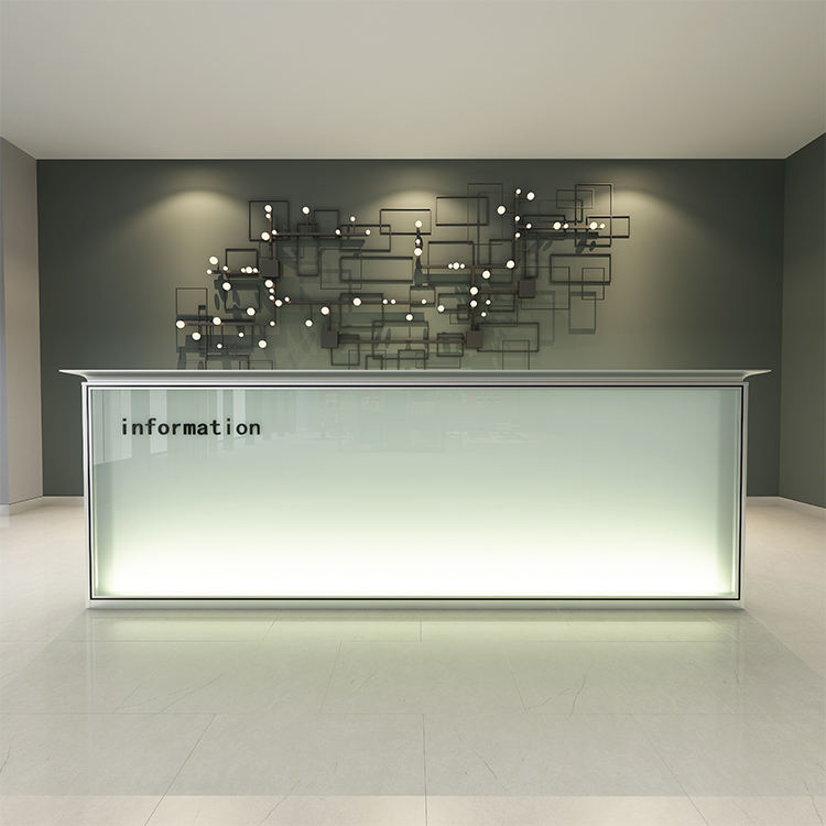 Heigh quality antique glass panel modern office reception desk