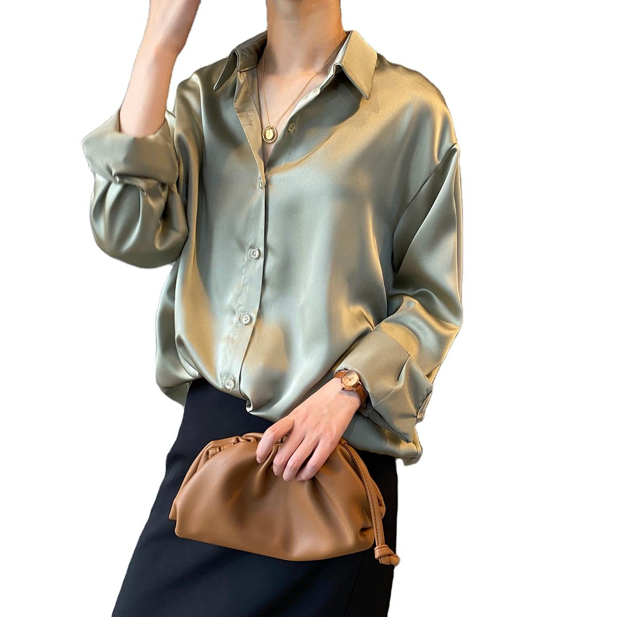 2020 New Spring Women Fashion Long Sleeves Satin Blouse Vintage Femme V Neck Street Shirts Elegant Silk Blouse