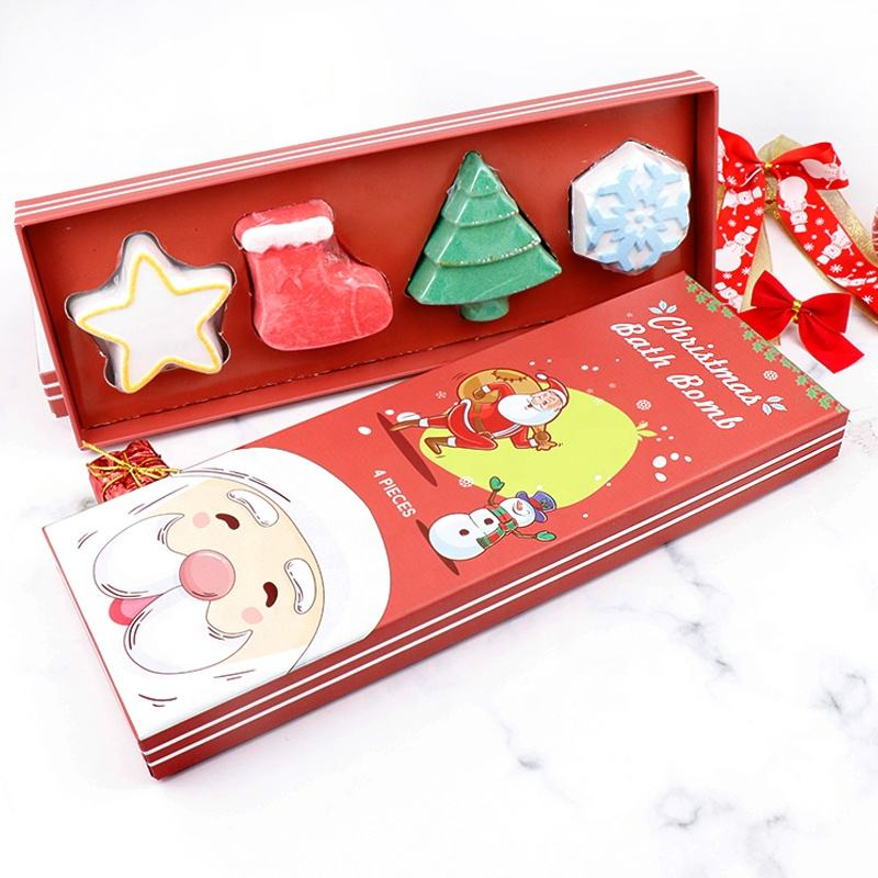Christmas Holiday Gift Set OEM Wholesale Private Label Colorful Bubble Vegan Natural Organic Hemp Kids Fizzy Bath Bombs Set