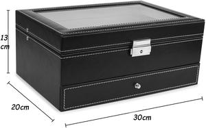 High Quality Leather Velvet 12 slots Watch Box With Jewelry Drawer Black Watch Case