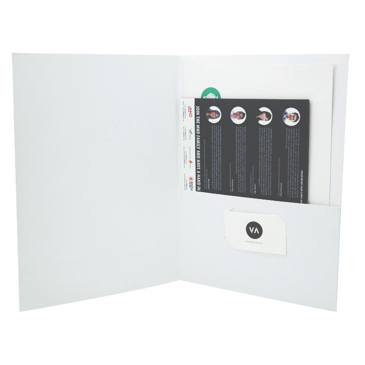 White Custom Logo Printed Glossy Lamination a4 Folder for Documents