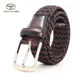 Wholesale Custom Logo Men's Black Stretchy Adjustable Braided Men Elastic Stretch Belt with Pin Buckle