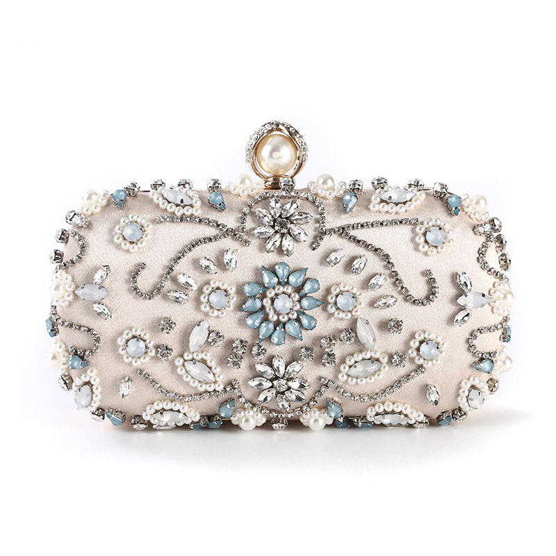 European Style Luxury Beautiful Crystal Evening Bag Pearl Beaded Party Wedding Bridal Clutches Ladies Handmade Stone Clutch Bag
