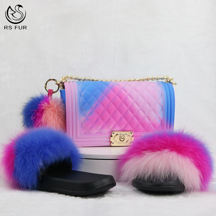 Factory direct custom furry fur slippers slides and matching purse bag set for women