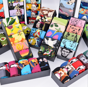Wholesale fashion custom gift box jacquard socks happy animal floral cotton socks men socks