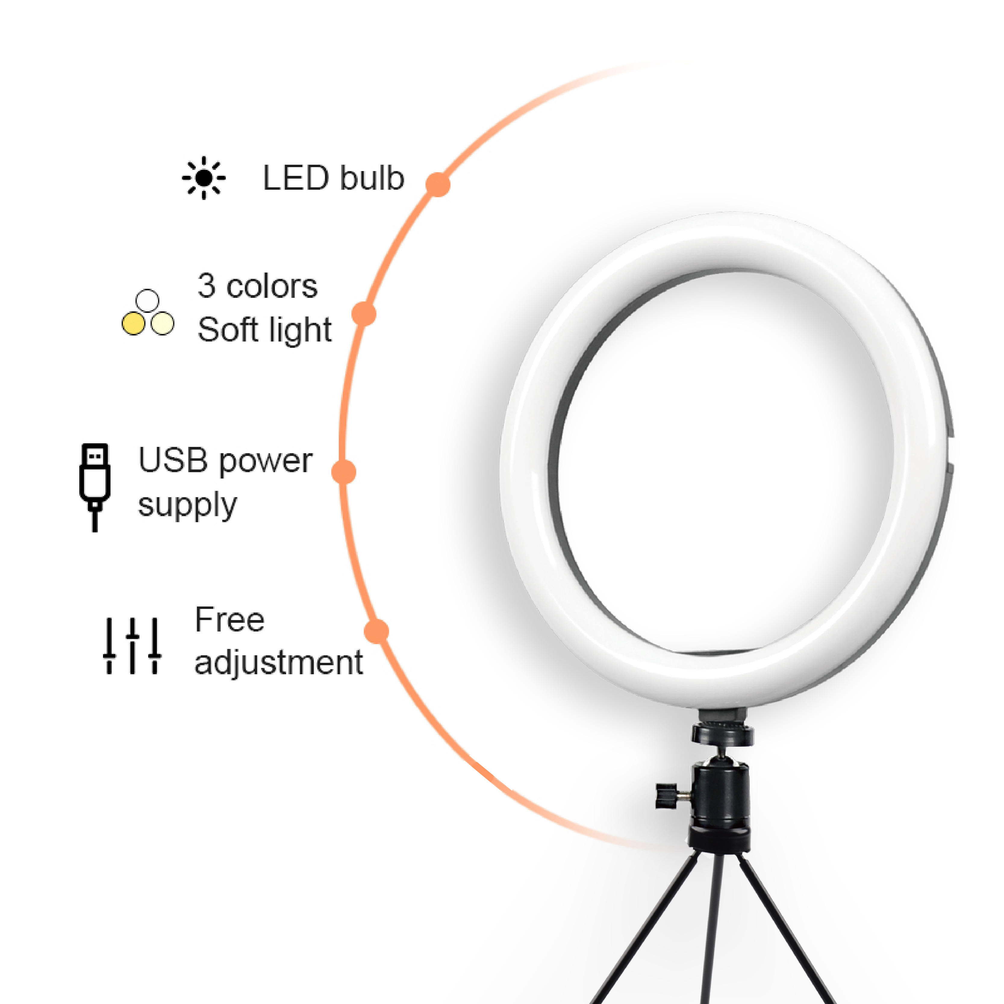 UEGOGO 10 inch Long Standby Time Phone Selfie Ring Light Makeup Mini Ring Light with Adjustable Light Source for Youtube
