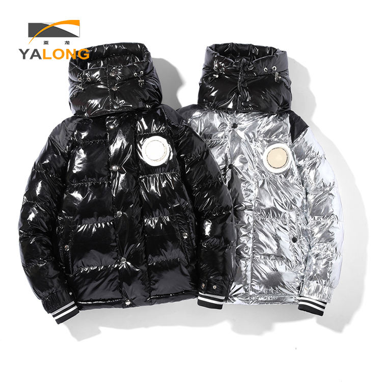 New arrival premium fancy waterproof quilted coat leather down jackets for men