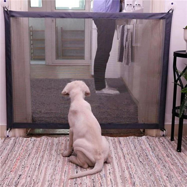 Magic-Gate Fences Portable Folding Safe Guard Indoor Protection Safety Enclosure Retractable Magic Dog Mesh Gate For Pets