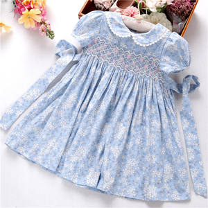 baby girls smocked dresses blue floral flower handmade summer fashion boutiques wholesale ready made 553