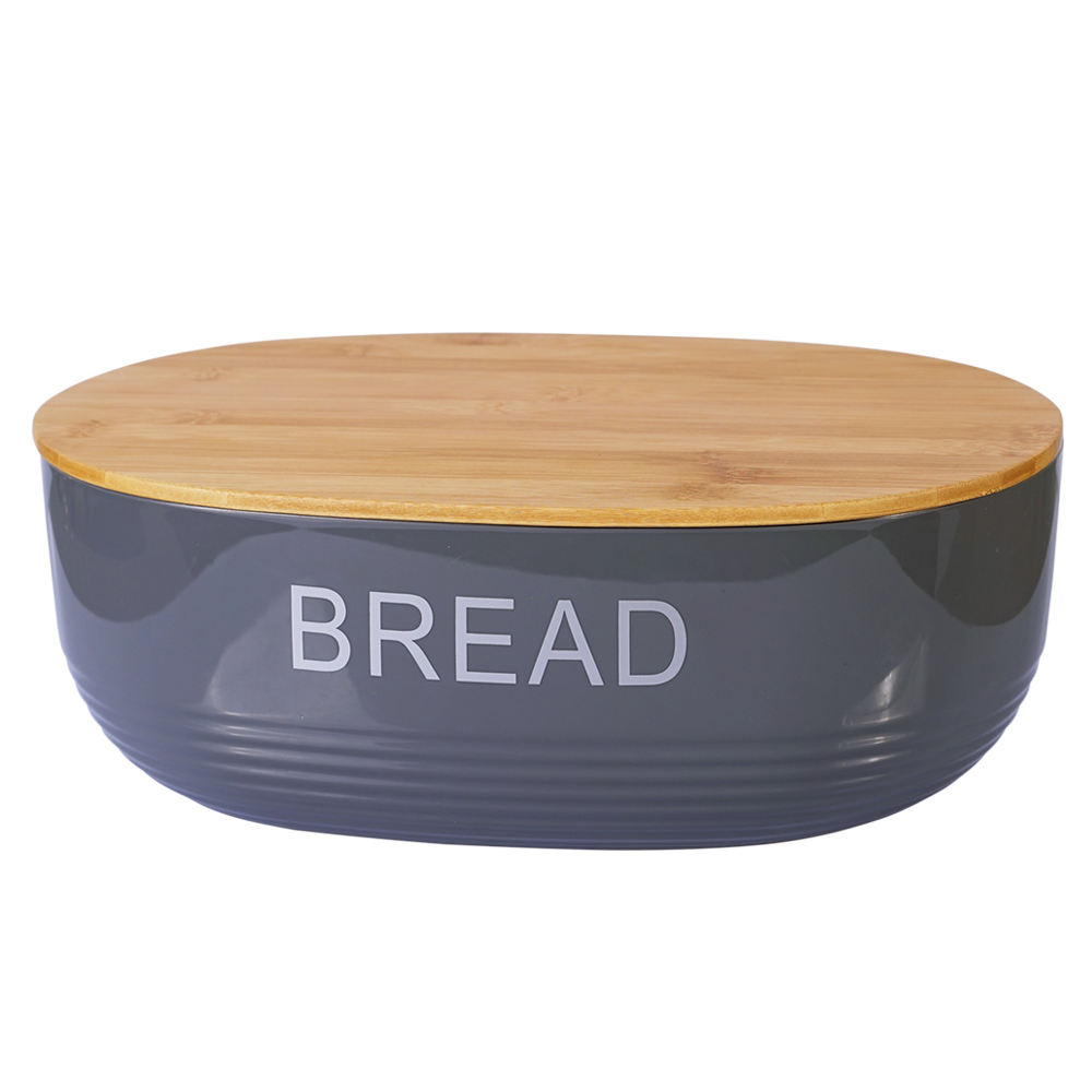 Amazon Hot Sell Products Unique Kitchen Plastic Bread Bin Box With Bamboo Lid