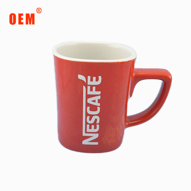 China factory price square ceramic porcelain red coffee cup