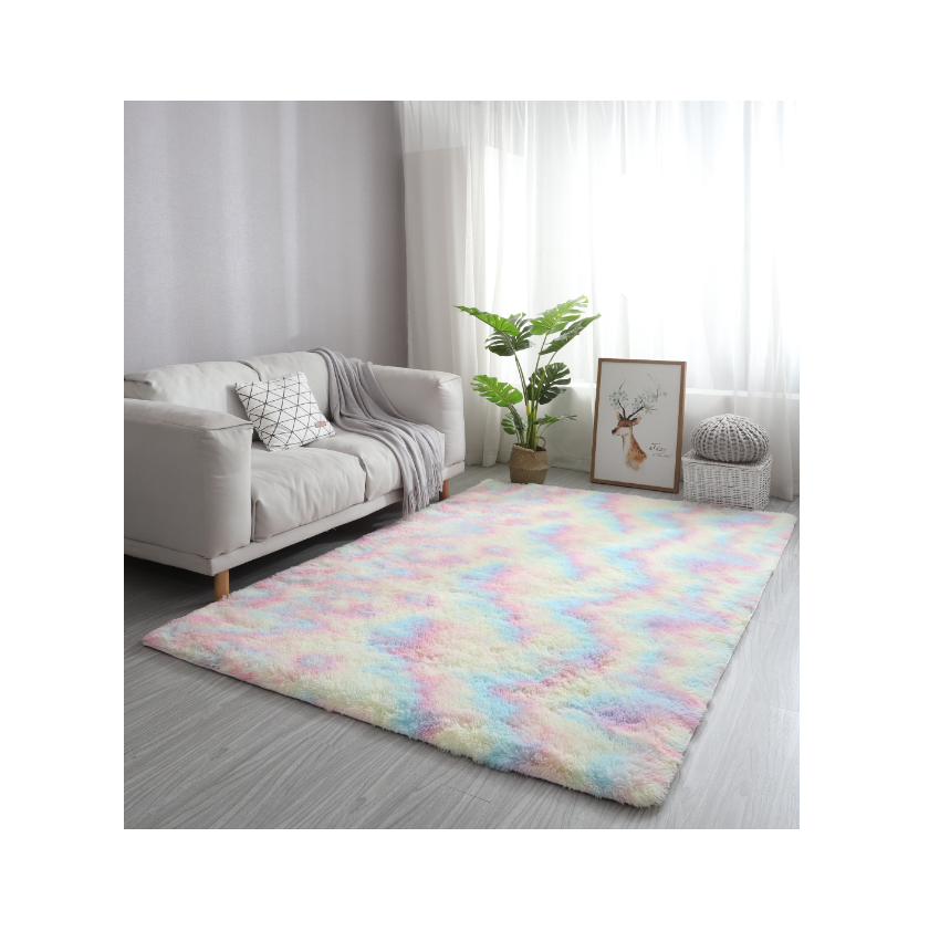 Rainbow Color Home Carpets Living Room Fluffy Area Rug Cheap Floor Office Carpets