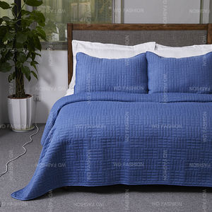3pcs Hotel Cotton Decorative Polyester melange luxury woven Stone washed quilted bedspread set