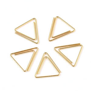 Customized triangle shape golden paper clips metal bookmark clips