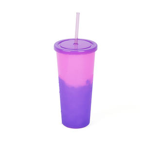 24oz Hot Sales Reusable Pp Color Changing Cups With Lid And Straw
