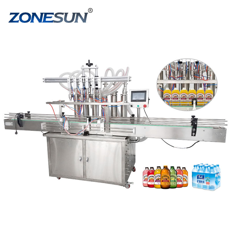 ZONESUN YT6T-6G Automatic Pneumatic Fruit Juice Soap Detergent Paste 6Heads Bottle Filling Machine Line With Cheap Price