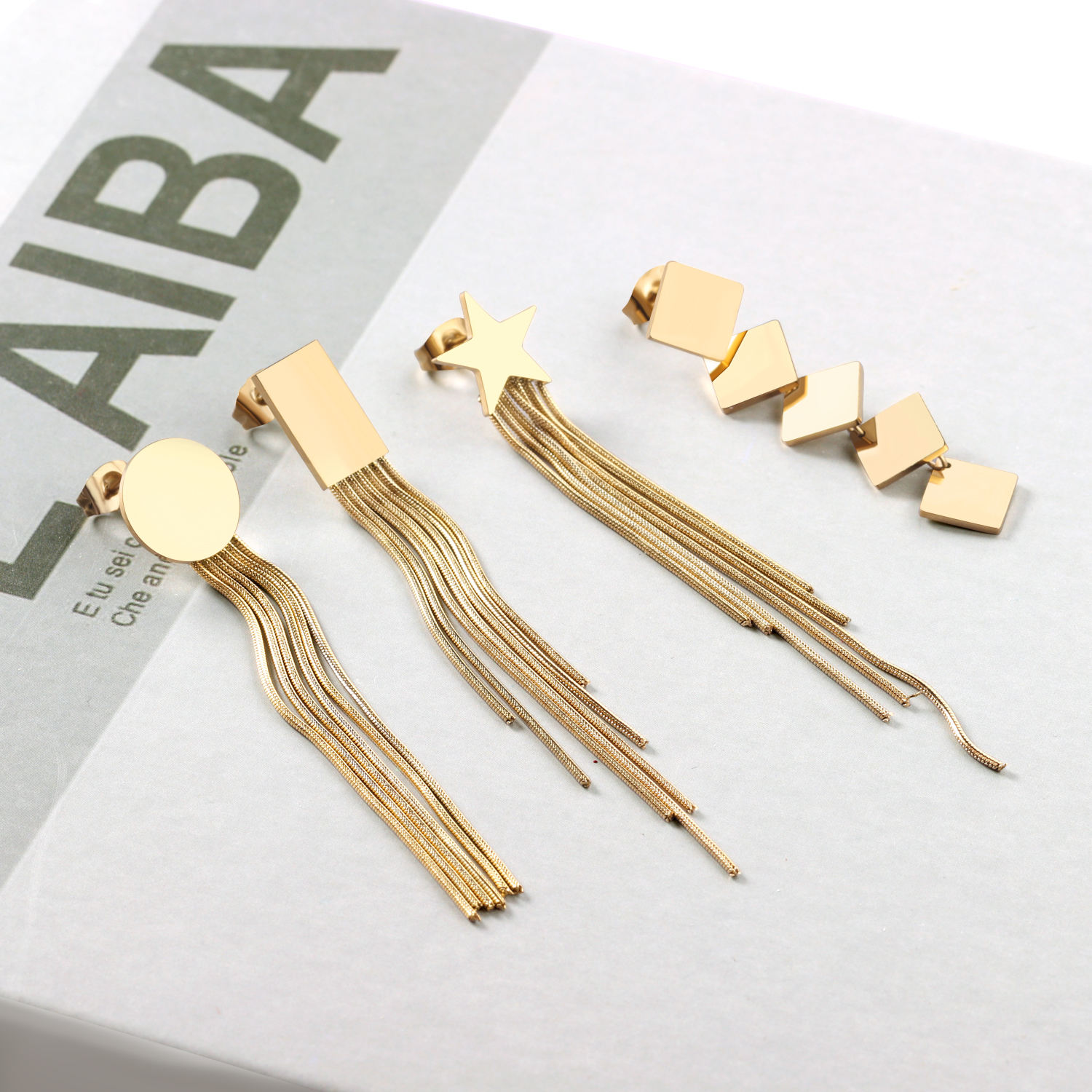 Jewelry Custom Geometric Gold Plated Metal 316l Stainless Steel Long Tassel Earring For Girls Woman