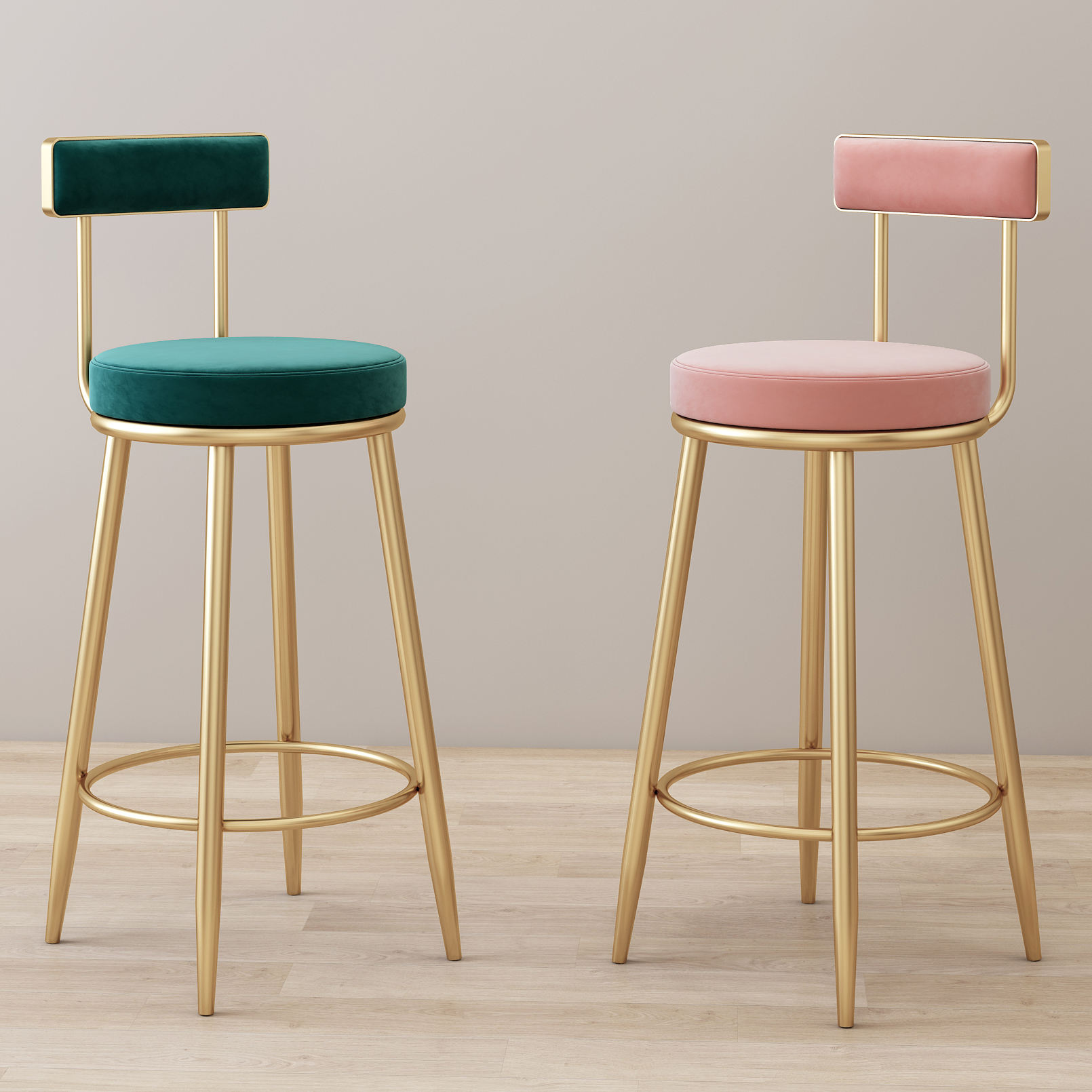 Bar Stools New Home Tall Nordic Metal Luxury Gold Velvet Kitchen Leather High Modern Chair Cheap Furniture Bar Stools With Back