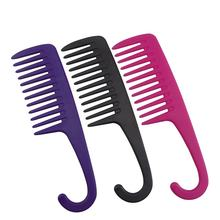 Wholesale Custom Logo Wide Tooth Comb Plastic Detangling Comb With Hook