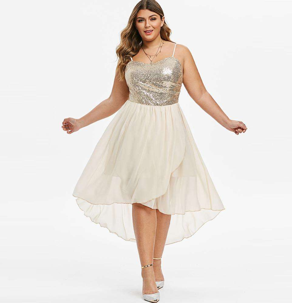 Pailletten High Low Overlap Party Plus Size Abend Abendkleid