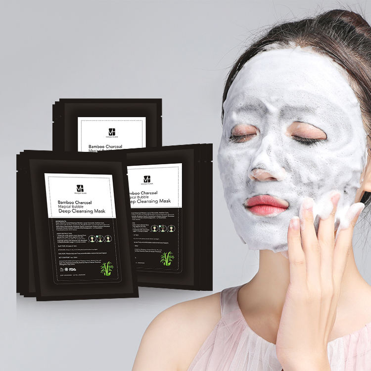 Oem /Odm Private Label Deep Cleansing Face Moisturizing Facial Sheet Korea Charcoal Black Bubble Mask