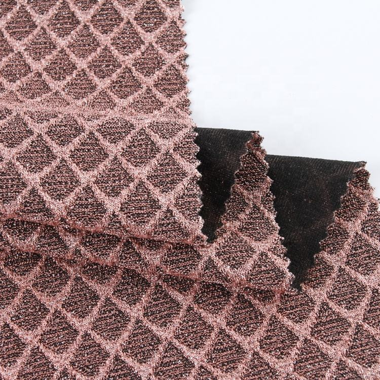 Lurex jacquard fabric yarn dyed knitted polyester nylon stretch metal lurex jacquard fabric for dress