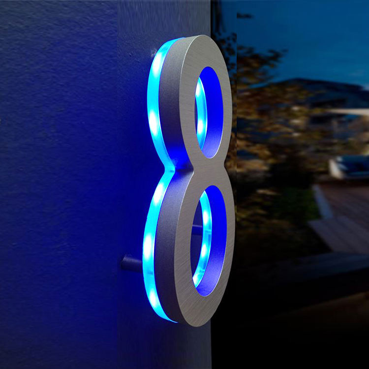 Cosun Sign Stainless Steel Glow In The Dark Illuminated Metal Solar Led House Number