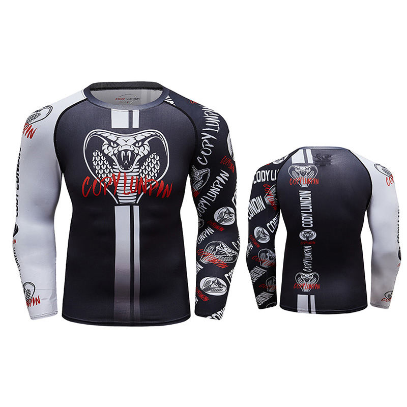 Custom Design Your Long Sleeve Rash guards Mens Sublimation Printed MMA Compression T Shirts