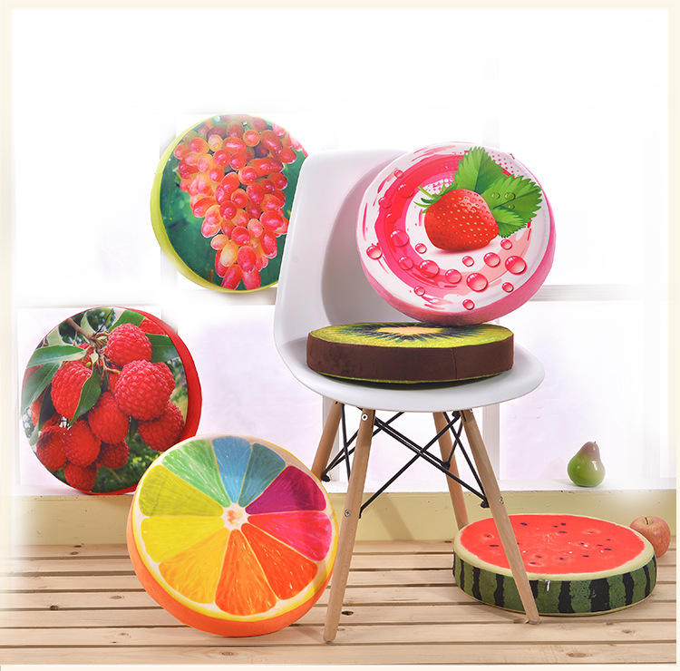 3D fruit cushion children kindergarten cartoon floor thickening round sponge heighten watermelon cushion
