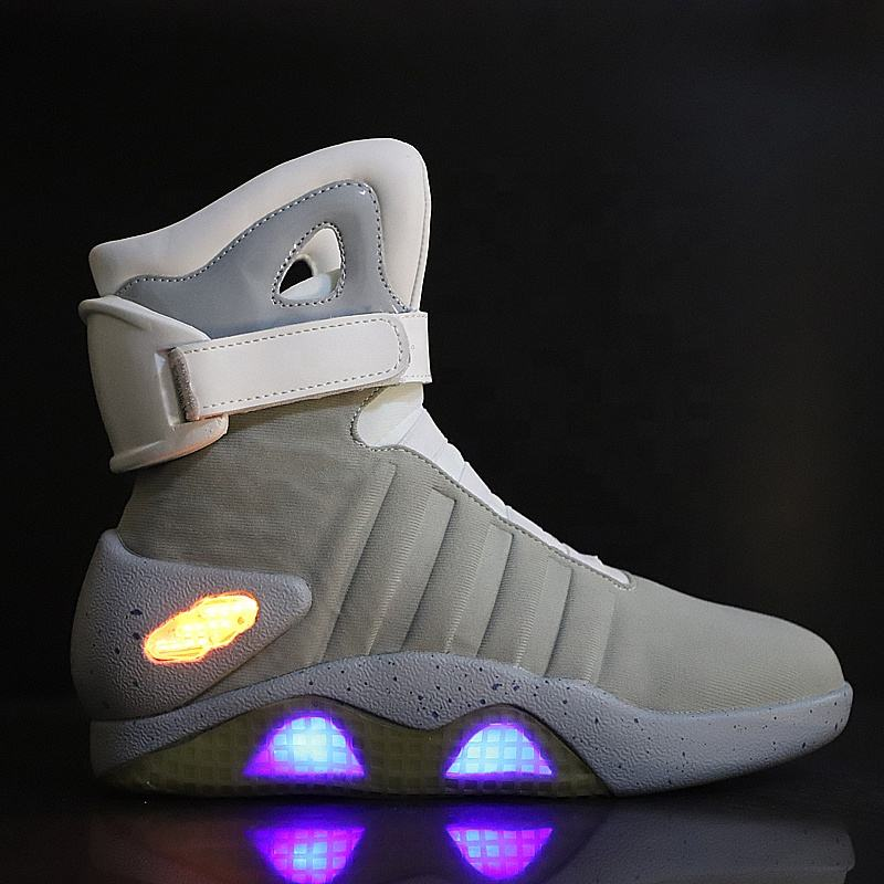 Fujian Shoes Original High Quality Three Mode USB Charging LED High Top Basketball Sneakers Back to Future Shoes