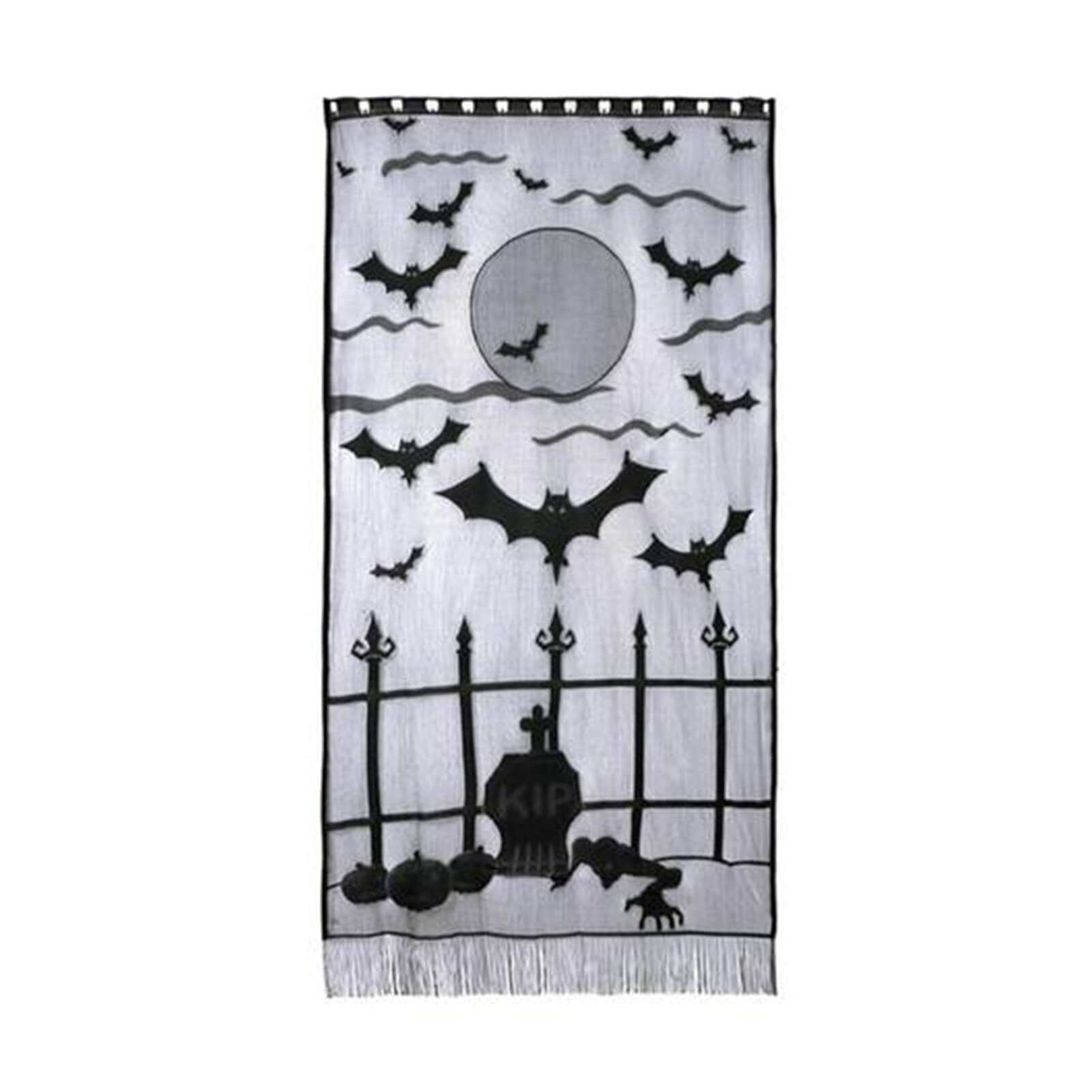 Halloween Lace Curtain Black Bat Door Curtain Window Decor