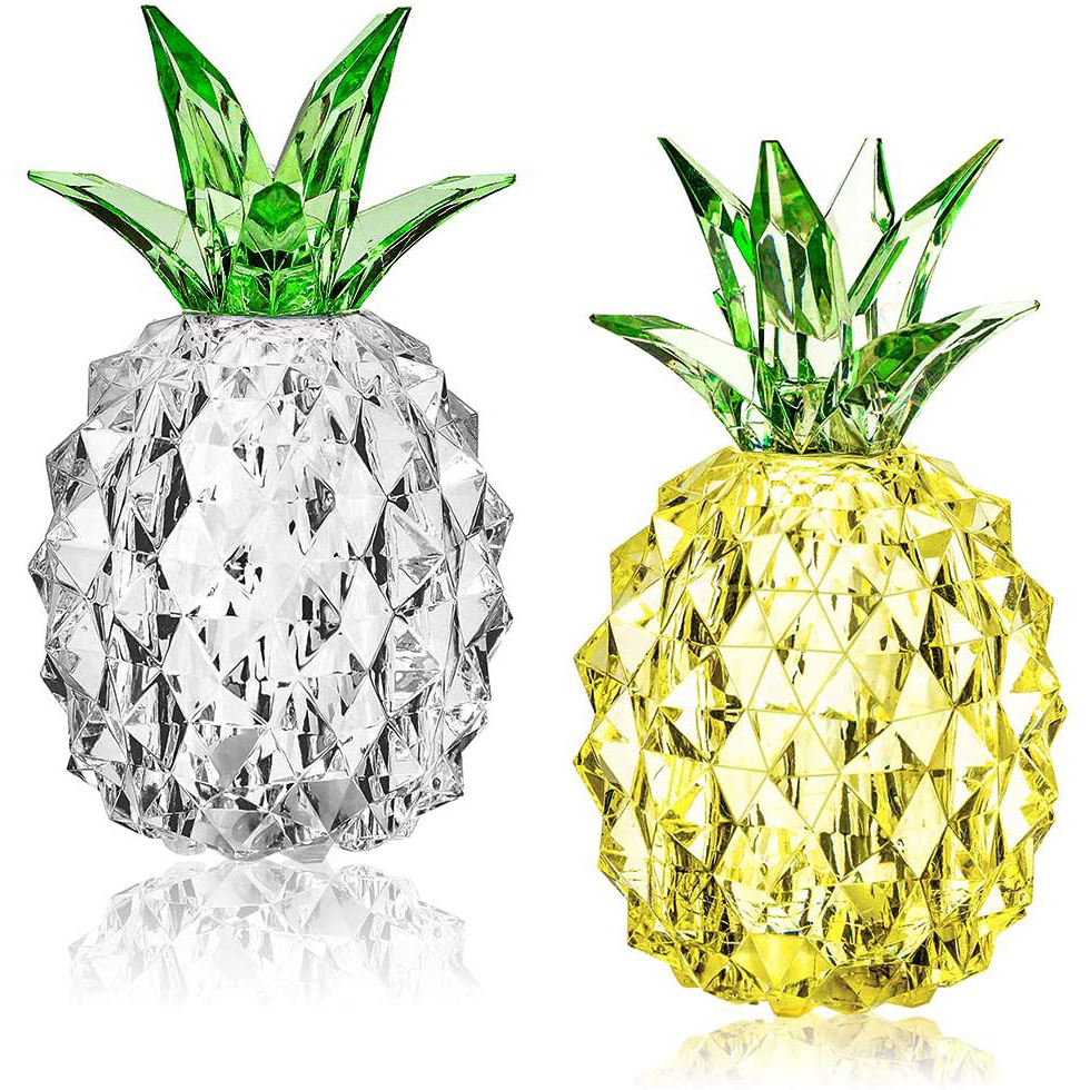 Crystal Pineapple Led Night Lights Battery Operated Table Centerpiece Lamps for Living Room Bedroom Office Home Decor