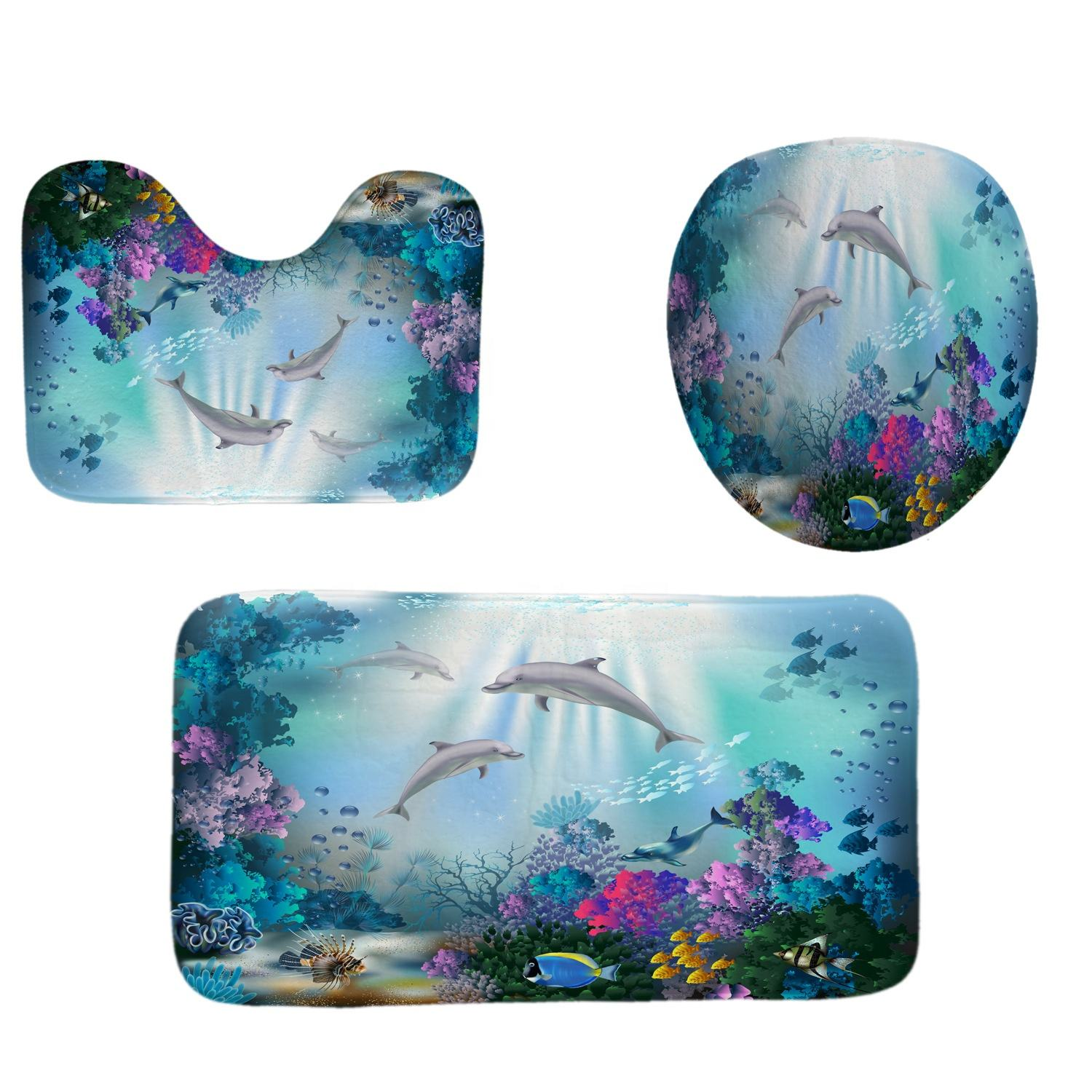 Ocean Design 4 In 1 Waterproof Fabric Bathroom 3D Shower Curtain Set with Non Slip Toilet Cover Rugs Mat Home Decoration