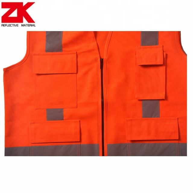 Orange high visibility safety reflector jackets